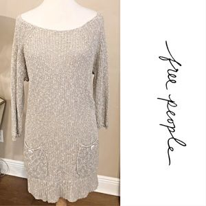 FREE PEOPLE Knit Off The Shoulder Sweater Dress M